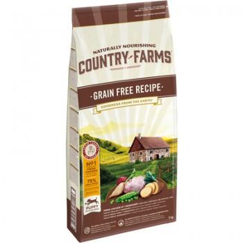 Country Farms/Кантри Фармс Сухой корм беззерновой полнорационный для щенков, с высоким содержанием курицы, 11 кг