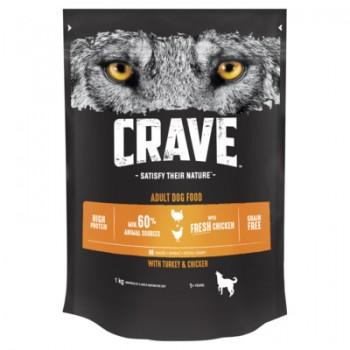 Crave / Крейв сухой корм для взрослых собак, с курицей и индейкой, 1 кг