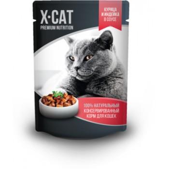 X-CAT / Икс-кэт Влажный корм для кошек курица и индейка в соусе, 0.085 кг