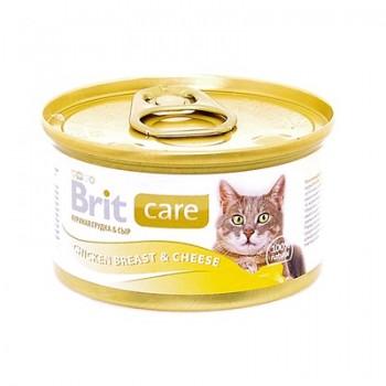 Brit / Брит Консервы для кошек с куриной грудкой и сыром, 80 гр