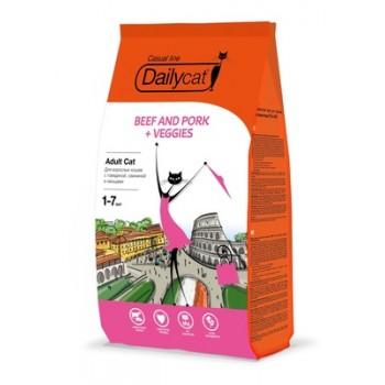 DailyCat / ДейлиКэт Для взрослых кошек с говядиной, свининой и овощами, 3 кг