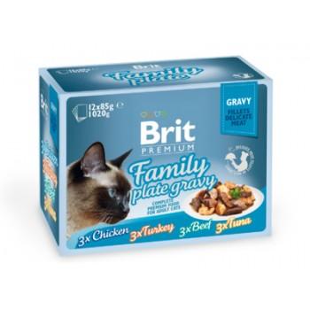 Brit / Брит Набор паучей Premium для кошек кусочки в соусе, 12x85 гр