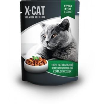 X-CAT / Икс-кэт Влажный корм для кошек курица и утка в соусе, 0.085 кг
