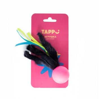 """Tappi / Таппи Игрушка """"Нолли"""" для кошек мяч с хвостом из натурального меха норки и лент оп."""