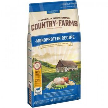 Country Farms/Кантри Фармс Монопротеиновый сухой корм для взрослых собак с высоким содержанием курицы, 11 кг