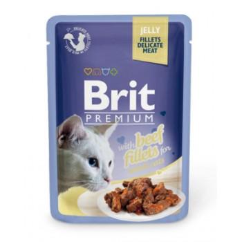 Brit / Брит Паучи Premium для кошек кусочки в желе из филе говядины, 85 гр