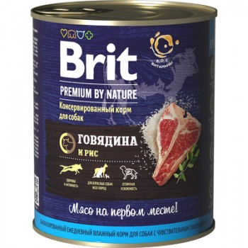 Brit / Брит Консервы д/собак Brit Premium by Nature Говядина и рис, 850 гр