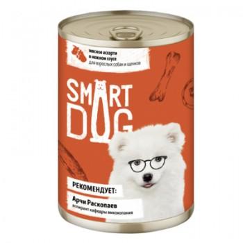 Smart Dog / Смарт Дог Консервы для взрослых собак и щенков мясное ассорти в нежном соусе, 240 гр