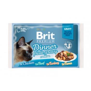 Brit / Брит Набор паучей Premium для кошек кусочки в соусе, 4x85 гр