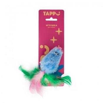 """Tappi / Таппи Игрушка """"Тимус"""" для кошек меховая мышь с кошачьей мятой с хвостом из перьев оп."""