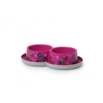 Moderna / Модерна Двойная нескользящая миска с защитой от муравьев Trendy - Друзья навсегда, ярко-розовый, 2*350 мл