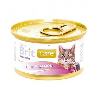 Brit / Брит Консервы для кошек с тунцом и лососем, 80 гр