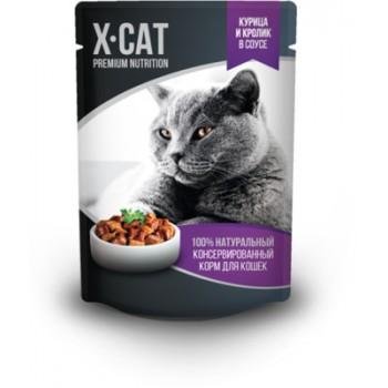 X-CAT / Икс-кэт Влажный корм для кошек курица и кролик в соусе, 0.085 кг