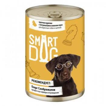 Smart Dog / Смарт Дог Консервы для взрослых собак и щенков кусочки курочки с потрошками в нежном соусе, 240 гр