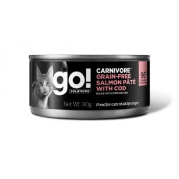 GO! / ГОУ! Консервы беззерновые с лососем и треской для кошек, 90 гр