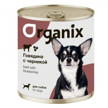 Organix / Органикс Консервы для собак Заливное из говядины с черникой, 750 гр