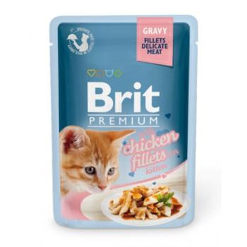 Brit / Брит Паучи Premium для котят кусочки в соусе из куриного филе, 85 гр