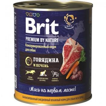 Brit / Брит Консервы для собак Premium by Nature с говядиной и печенью, 80 гр