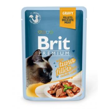 Brit / Брит Паучи Premium для кошек кусочки в соусе из филе тунца, 85 гр