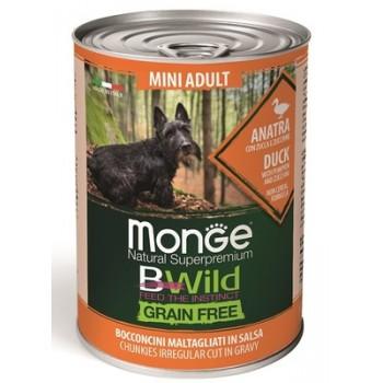 Monge / Монж Dog BWild Grainfree ADULT MINI консервы из утки с тыквой и кабачками для собак мелких пород 400г