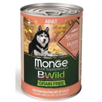 Monge / Монж Dog BWild Grainfree ADULT консервы из лосося с тыквой и кабачками для собак всех пород 400г