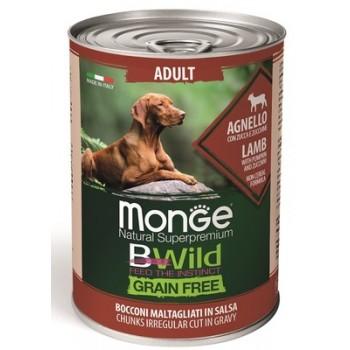 Monge / Монж Dog BWild Grainfree ADULT консервы из ягненка с тыквой и кабачками для собак всех пород 400г