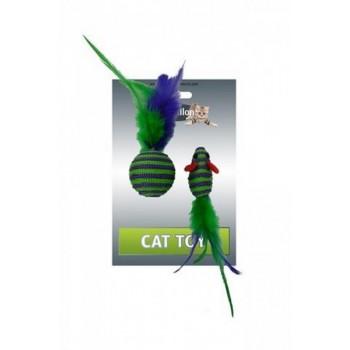 """Papillon / Папиллон Игрушка для кошек """"Мышка и мячик с перьями"""" 5+4см, вязанные"""