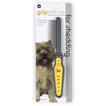 JW Расческа для собак, с длинными и короткими зубьями Grip Soft Dog Shedding Comb (65022)