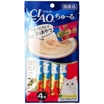 Inaba Чао Чуру пюре для кошек желтоперый тунец+гребешок, 56 гр