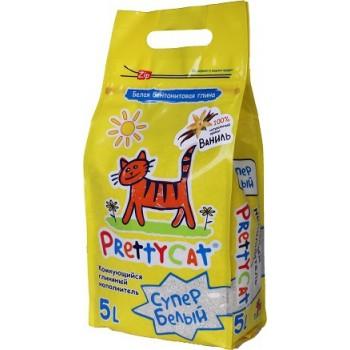 """PrettyCat Наполнитель комкующийся для кошачьих туалетов """"Супер белый"""" с ароматом ванили 5 л"""