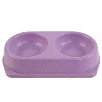 Bobo / Бобо Миска двойная, 25x14x4.5 см, 180+180 мл, фиолетовый