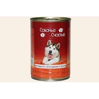 Собачье счастье кон.д/собак Говядина с потрошками в желе 410г