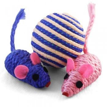 Triol / Триол Набор игрушек XW7007 для кошек (мяч, 2 мыши), d45мм; 50мм
