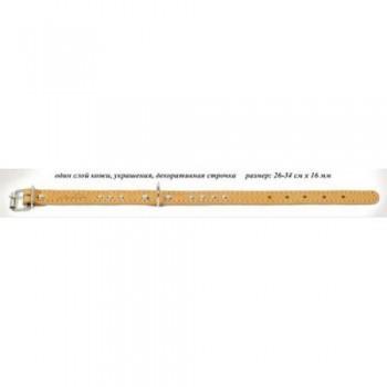 Аркон Ошейник кожаный 16, размер 26-34 см x 16 мм, цвет натуральный, о16, один слой кожи, украшения, декоративная строчка (30053)