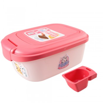 Catidea Контейнер для сухого корма на 2 кг, совок, розовый