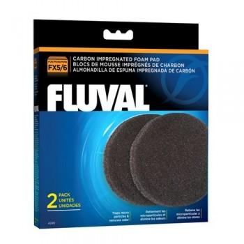 Hagen / Хаген Губка угольная для удаления примесей из воды для фильтров FLUVAL FX5/FX6, 2 шт/упак.