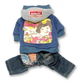 """Katsu / Катсу Комбинезон """"Беби Дог"""" (куртка+джинсы) с капюшоном, тепл.трикотаж, разм S (26х40х21см) синий"""