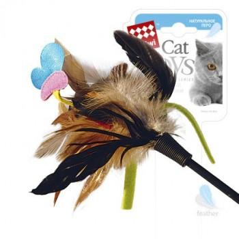 GiGwi 75242 Дразнилка д/кошек с бабочкой с натуральными некрашеными перьями