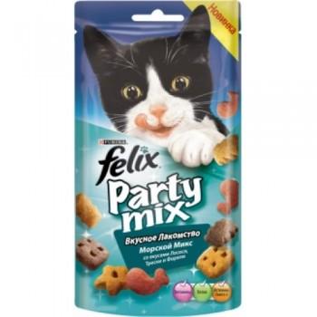 Felix / Феликс Party Mix лакомство для кошек Морской Микс Лосось, Треска, Форель 60 гр