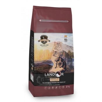 Landor / Ландор сухой корм для кошек, живущих в помещении утка с рисом 2 кг