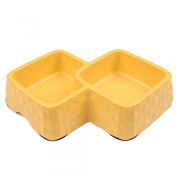 Bobo / Бобо Миска двойная, 29.9x18.9x5.5 см, 360+430 мл, желтый