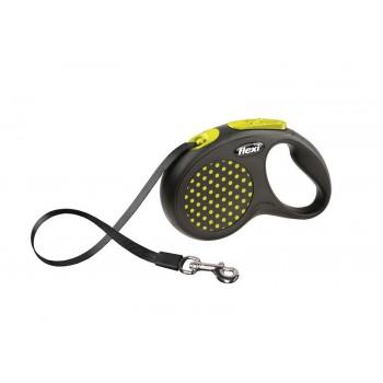 Рулетка Flexi Design S 5м*15кг (ремень) желтый