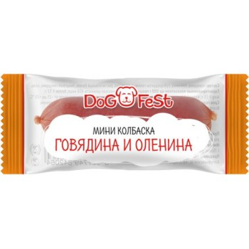 Dog Fest / Дог Фест Мини колбаска ГОВЯДИНА И ОЛЕНИНА 6 гр х 20 шт