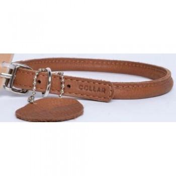 CoLLaR SOFT Ошейник кожаный, двойной прошитый, круглый без украшений для длинношерстных собак, 33-41см*13мм, коричневый (00396)