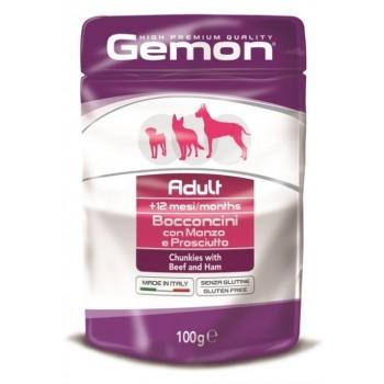 Gemon Dog Pouch паучи для собак кусочки говядины с ветчиной 100 г