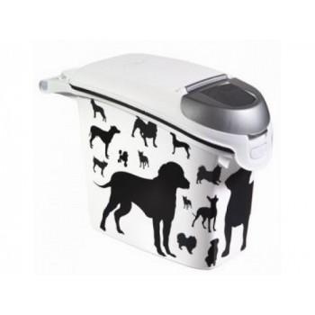 """Curver PetLife / Курвер ПетЛайф Контейнер для корма """"Собаки"""" черно-белый, на 6кг/15л, 23*50*36см"""