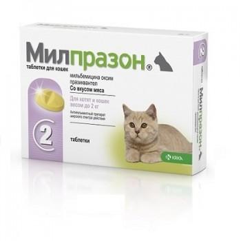 Милпразон антигильминтик для котят и молодых кошек таблетки 2x4 мг / 10 мг