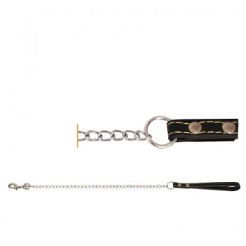 Triol / Триол Поводок-цепь SHL2511 с кожаной ручкой, 2,5*1100мм