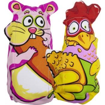 Fat Cat Игрушка д/собак - Зверушка, с хрустящей бутылкой внутри, маленькая, мягкая (дл.20 см), Mini Water Bottle Cruncher Dog Toy (assort)