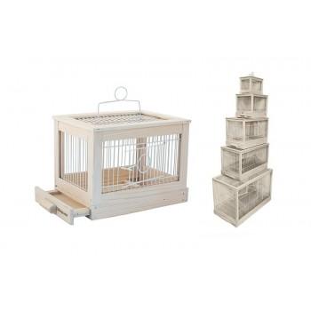 """Yami-Yami / Ями-Ями Клетка для птиц """"Под старину"""" малая, деревянная, цвет белый, 47,5*27*32"""